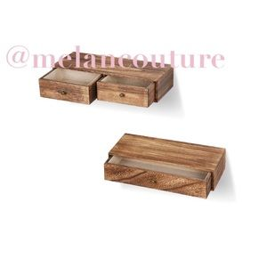 Floating Shelves with Drawer Rustic Wood Wall 2pcs